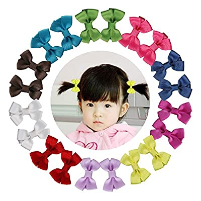 "Shemay 10 Pairs 2"" Tiny Boutique Grosgrain Ribbon Hair Bows Alligator Clips Barrettes for Baby Girls Toddlers Kids"
