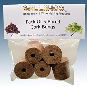 Home Brew & Winemaking - Balliihoo® Bored Cork Bungs To Fit Standard 1 Gallon Demijohn - Pack Of 5