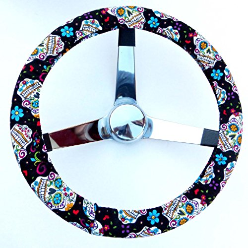 Mana Trading Handmade Steering Wheel Cover Black Folkloric Sugar Skull (Steering Wheel Cover Sugar Skull compare prices)