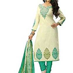 Shree Hari Creation Women's Poly Cotton Unstitched Dress Material (3566_Rama Color_Free Size)