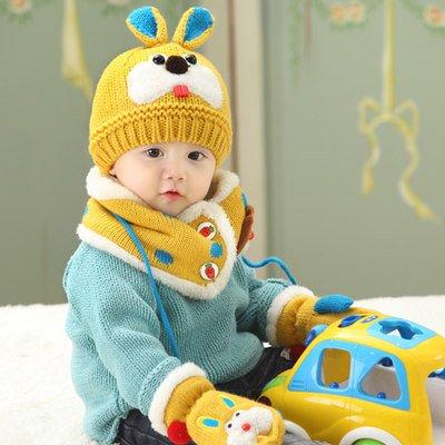 Inverno Berretto per bambini, baby lana maglia cappello orecchio cappello bambino/sciarpa three-piece set giallo yellow