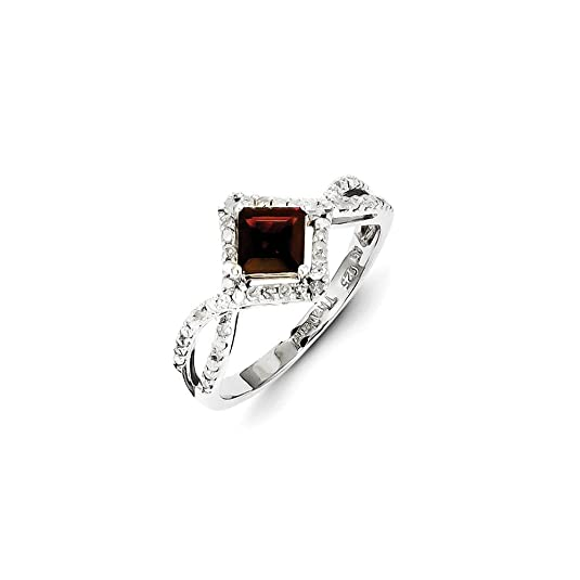 Sterling Silver Diamond & Garnet Ring