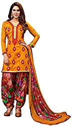 Begum Riwaaz Women's Georgette Unstitched Dress Material (18001A, Yellow)