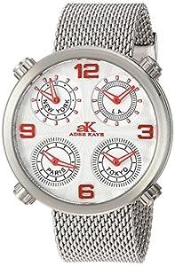 Adee Kaye Men's Quartz Stainless Steel Dress Watch, Color:Silver-Toned (Model: AK2275-MSV/Mesh)