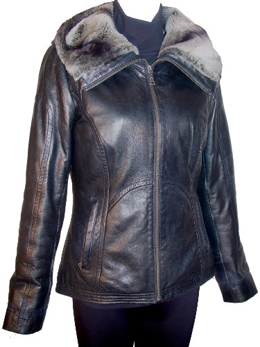 Paccilo FREE tailoring Womens 4000 Real Lambskin Short Leather Jacket Parka