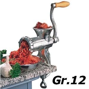 Fleischwolf, Spritzgebäck Presse, mit Gebäckaufsatz + Spritzgebäckaufsatz in Größe 12 - Robuster Eisengusskörper - Gehärtetes Stahlmesser