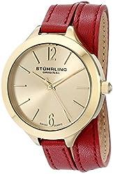 Stuhrling Original Women's 568.02 Deauville Sport Swiss Quartz 23K Gold Plated Case Red Genuine Leather Wrap Around Strap Watch