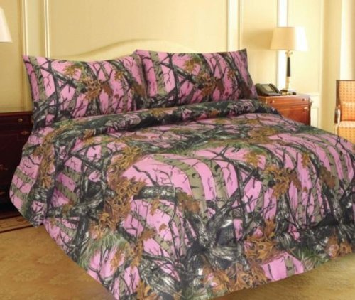 Find Discount Pink Woodland Camo 7 Piece Comforter,sheet, and Pillowcase Set - Queen -