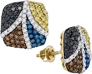 1.27ctw Chocolate Brown Champagne Cognac Canary Yellow Blue Black & White Round Diamond Stud Earrings