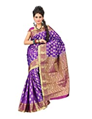 Ankisha Women's Art Silk Saree (KANYAM, Purple, Free Size)