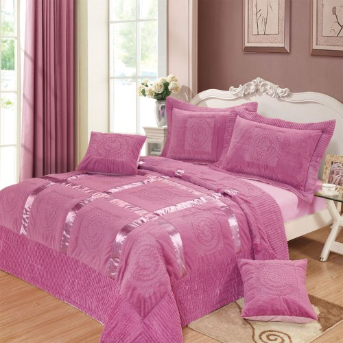 Dada Bedding Yg1002Q Mushy Ribbon Paisley 5-Piece Bedspread Set, Queen, Purple front-999098