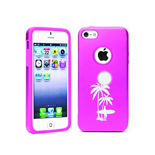Apple Iphone 5C Aluminum & Silicone Case Palm Tree - Lifetime Warranty (Pink)