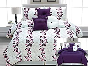 Legacy Decor 7pc Microfiber Reversible White Purple and Pink Lilac Vines Design Comforter Set Queen