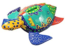 Picasso Inspired Hand Painted Wooden Turtle Coin Bank