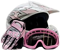 Youth Offroad Gear Combo Helmet Gloves Goggles DOT Motocross ATV Dirt Bike MX Motorcycle Pink - Medium from Typhoon Helmets