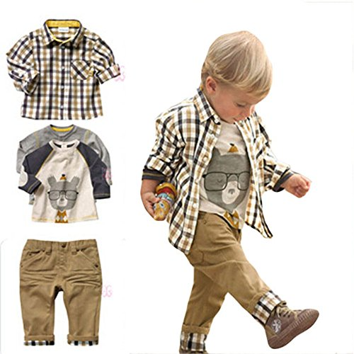 Chinatera 3pcs Spring Baby Boy Clothes:Cartoon Tops+Checked Shirt+Solid Pants(90:85-95cm for 2-3Y)