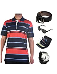 Garushi Multicolor T-Shirt With Watch Belt Sunglasses Cardholder