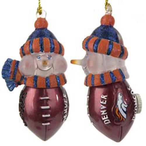 "Pack Of 2 Nfl Denver Broncos Led Lighted Football Snowman Christmas Ornaments 4"""
