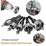 MOHOO 5PCS 16-30MM HSS Drill Bit Hole Saws Set Stainless High Speed Steel Metal Alloy (Color: Silver Hole Saw Set)