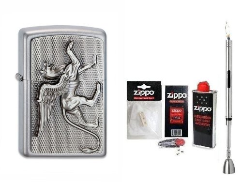 Zippo Feuerzeug Griffin Emblem | Neu Spring Collection 2013 mit Zubeh&#246;r XL &amp; Chrome Stabfeuerzeug + Kerzenl&#246;scher