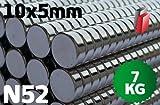 50x POWER NEODYM MAGNET SCHEIBE, 10x5 mm, N52, HAUSHALT, BÜRO, PINNWAND, STARK