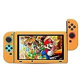 BUBM Soft Silicone Case Anti-slip Protective Cover Seperate bodies Case for Nintendo Switch (Orange) (Color: Orange)