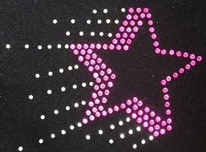Pink Shooting Star Iron-On Hotfix Diamante Transfer Gem