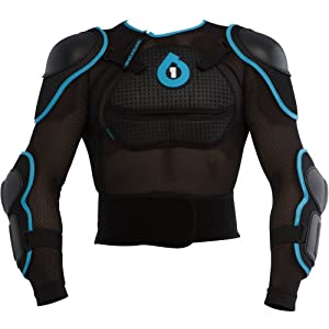SixSixOne Comp Pressure Suit Adult Upper Body Race Suit Off-Road/Dirt Bike Motorcycle Body Armor - Black/Cyan / X-Large