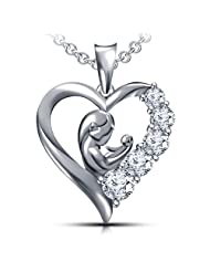 Special Offer For Mother Day In Vorra Fashion Round Cut Platinum Plated 925 Sterling Silver Mom In Heart Pendant...