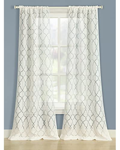 Laura Ashley Set of 2 Edwardian Window Curtains, White