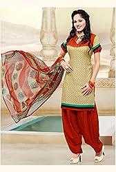 SareeShop Women's Georgette Semi-Stitched Dress Material (B2B1077_Cream_Free Size)