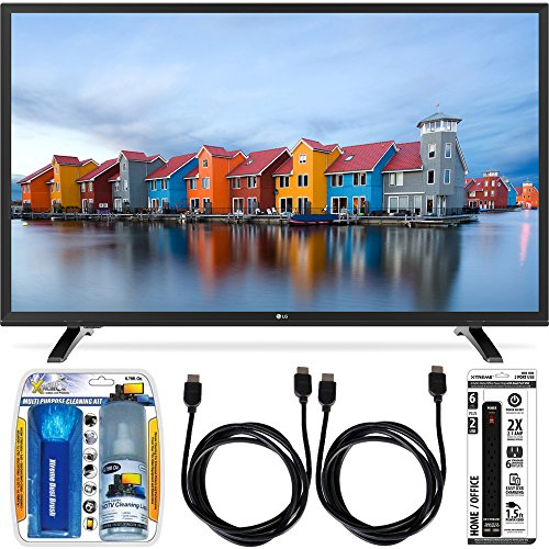 LG 32LH500B 32-Inch HD 720p 60Hz LED TV Essential Accessory Bundle includes TV, Screen Cleaning Kit, 6 Outlet Power Strip with Dual USB Ports and 2 HDMI Cables (Lg 32 Tv compare prices)
