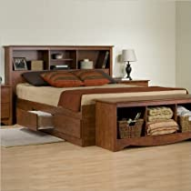 Big Sale Prepac Monterey Cherry Double / Full Bookcase Platform Storage Bed