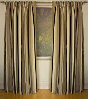 Mali Natural Cotton Blend Lined 66x72 Striped Pencil Pleat Curtains #rtsrev *hc* from Curtains