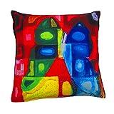 "Gunjan Creations Polyester Blend 1 Piece Cushion Cover -Multicolour, 16"" Inch X 16"" Inch"
