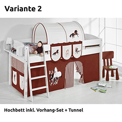 Hochbett Spielbett IDA Pferde Braun Beige, mit Vorhang, weiß, Variante 2 online kaufen