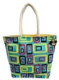 Neska Moda Swachh Bharat Women's Geometric Mobile Design Sky Blue Jute Bag Shoulder Bag-B113