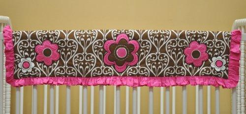 Damask Pink/Choc Crib Rail Protector - 1