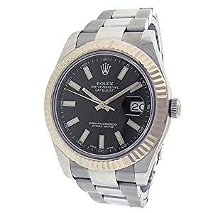 Rolex Datejust II automatic-self-wind black mens Watch 116334BKSO (Certified Pre-owned)