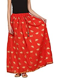 Saadgi Rajasthani Hand Block Printed Handcrafted Ethnic Lehnga Skirt For Women/Girls - B06XGH56Y8