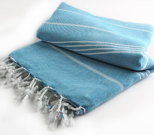 Pestemal Blanket Throw Turkish Striped Beach Towel Picnic Home Bed 59x79 TM by Cacala Aqua (Pic Nic Towel compare prices)