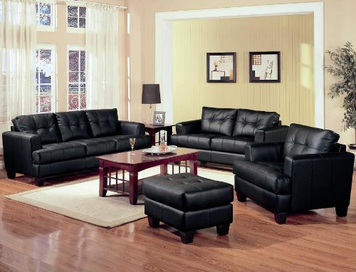Leather Sofa Samuel Collection 4PC Living Room Group In 100 Black Bonded Le
