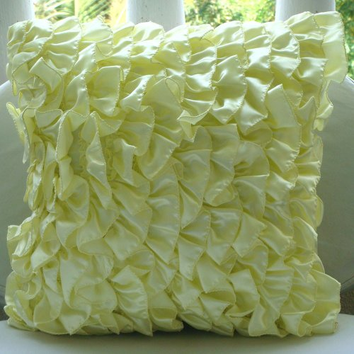 Vintage Lemons - 12X12 Inches Square Decorative Throw Lemon Yellow Satin Pillow Covers With Satin Ruffles front-441189