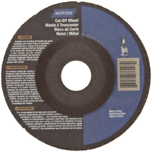 Norton Metal Stainless Steel Right Cut Small Diameter Reinforced Abrasive Cut-Off Wheel, Type 27, Aluminum Oxide, 7/8