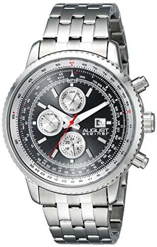 August Steiner Men's Swiss Quartz Watch with Black Dial Analogue Display and Silver Stainless Steel Bracelet AS8162SSB