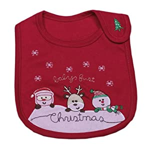 Double Baby Embroidered Cotton Cartoon Waterproof Bib Christmas 20cm