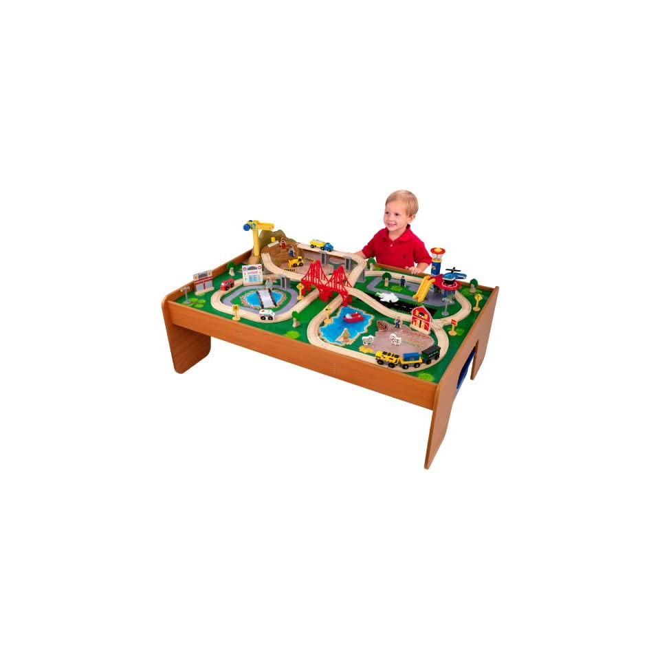 Imaginarium Classic Train Table With Roundhouse Wooden Train Set On