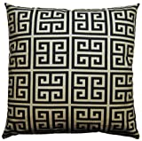 JinStyles Cotton Canvas Fret Accent Decorative Throw Pillow Cover (Black & Ivory Beige, Square, 1 Cover for 18 x 18 Inserts)
