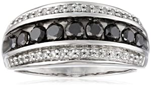 10k White Gold Black and White Diamond Anniversary Ring (1.00 cttw, I-J Color,I2-I3 Clarity), Size 9
