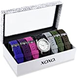XOXO Womens XO9028 Watch Set with Seven Interchangeable Silicone Rubber Straps